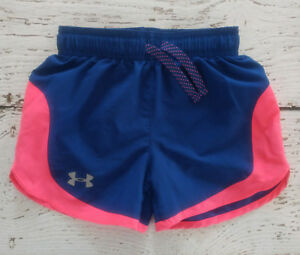 UNDER ARMOUR Girls Blue Pink Athletic Shorts Youth XS (YXS) EUC