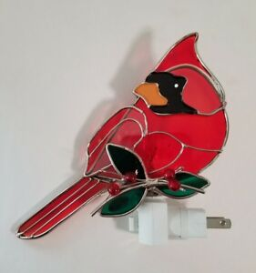 Painted Stained Glass Red Cardinal Bird Night Light