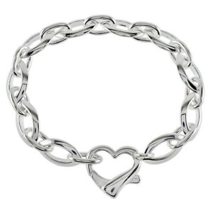 Womens 925 Sterling Silver Fancy Heart Lock 7.5