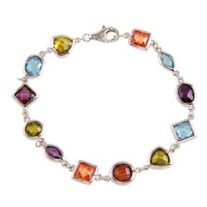 Womens 925 Sterling Silver CZ Multi-Color Mixed Stone Bracelet