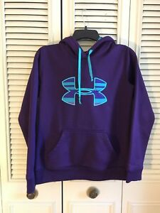WOMENS UNDER ARMOUR HOODIE PULLOVER COLD GEAR STORM SEMI FITTED XS PURPLE $17.99