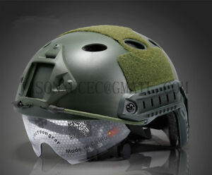 AWESOME! Tactical Airsoft Fast PJ Helmet with Goggles ARC Side Rails Vas Shroud