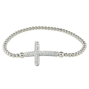 Womens 925 Sterling Silver CZ Stretching Bead Micro Pave Cross RH Bracelet