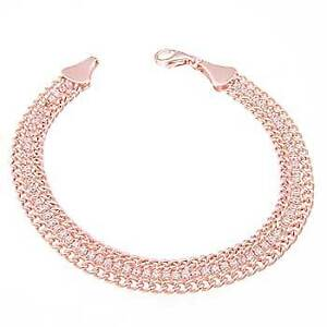 Womens 925 Sterling Silver CZ Rose Plated Bracelet