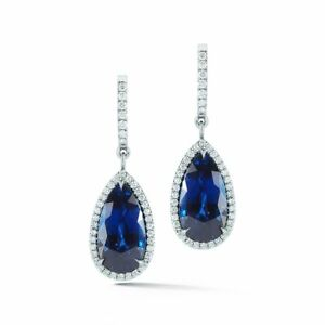 21.71 ct Natural  Matched  Sapphire  Diamond Platinum earrings Rare Royal Blue
