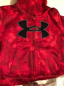 UNDER ARMOUR Red & CAMO Zip Up Hooded Jacket HOODIE Infant Size 3  6 months