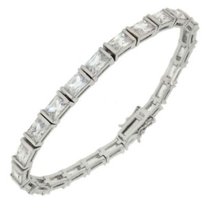 Womens 925 Sterling Silver Cubic Zirconia Rectangle Tennis 7