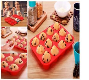 Silicon Muffin Tray 12 Molds Non-Stick Baking Ideal for Cupcakes Muffins