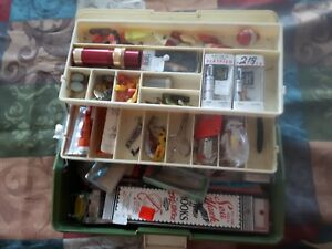 Vintage Union Tackle Box Loaded With Lures wood Helin Oreno Rebel