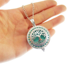 1pcs Silver Brass Hollowed Life Tree Locket Pendant Charm Necklace Oil Diffuser $2.84
