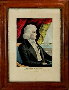 Antique 1844 Currier Hand-Colored Lithograph of George Dallas US Vice President