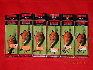 Lot of 6 NEW Rapala DT-6 Red Crawdad Crankbaits DT06 RCW  DIVES-TO 6 FEET