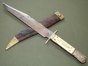 Antique 1850s GEORGE WOODHEAD SHEFFIELD GOLD RUSH OLD WEST CIVIL WAR BOWIE KNIFE