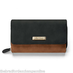 Alfred Durante Designer Wallet for Women in Whiskey Brown and Black Faux Leather