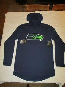 Nike L dry fit long sleeve shirt black with hood Seahawks Men's Large