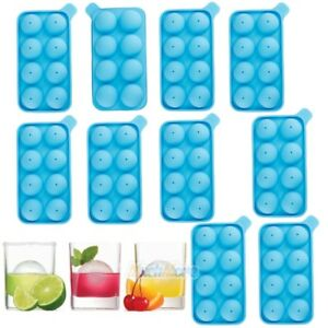 10x Round Silicon Ice Cube Ball Maker Tray 8 Large Sphere Mold Whiskey Cocktails