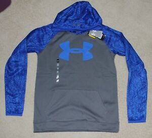 NWT-Boy's Under Armour Printed Logo Hoodie Sweatshirt Size Extra Large