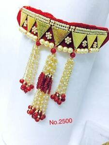 Women Eid Gift Bollywood Red Velvet Base Bridal Choker Pearl Necklace Set yU356