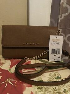 **Nwt Michael Kors Jet Set Lg Phone Crossbody Bag Wallet Luggage Leather $168 **
