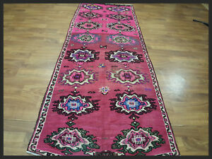 One of a kind stunning Pink color 4x10 Hereke Turkish Oriental Runner Rug