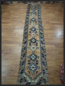 Must See Blue and Beige 3x16 Anatolian Turkish Oriental Runner Rug