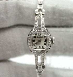BULOVA 14K WHITE GOLD ESTATE VINTAGE DIAMOND WATCH 14K GOLD DIAMOND BRACELET