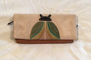 Fossil Long Live Vintage Jules Camel Brown Lady Bug Leather Flap Clutch Wallet