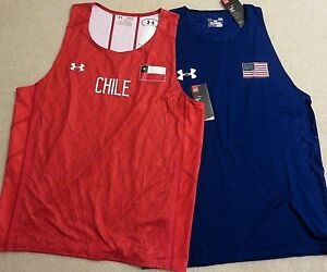 UNDER ARMOUR USA CHILE Blue Red Fitted Tank Top Sleeveless Jersey Shirt Mens