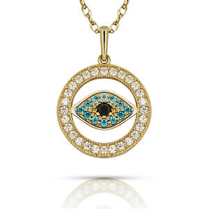 Evil Eye Multi-Color Gemstone Turkish Nazar Greek Hamsa Pendant Necklace 14K YG