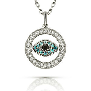 Evil Eye Multi-Color Gemstone Turkish Nazar Greek Hamsa Pendant Necklace 14K WG