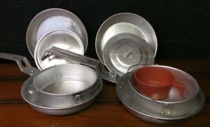 Set of 2 Vintage Aluminum Camping Outdoor Cooking Nesting Pots Cookware