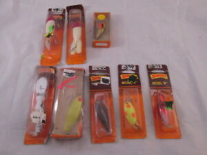 8 Vintage NOS Bomber Lures in Assorted Styles on Original Cards