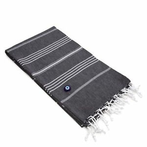 Authentic Fouta Black Charcoal Turkish Cotton Bath Beach Towel