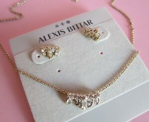Alexis Bittar Jagged Marquis Gold & Crystal Necklace & Earring Set NWT