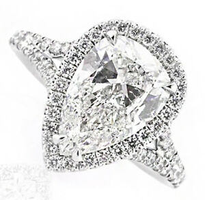 5 carat Natural Pear Shape Art Deco Design GIA Certified Diamond Engagement R...