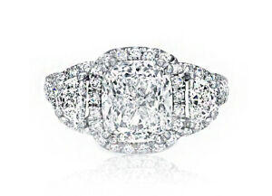 3-Stone GIA Certified Halo Design Pave Engagement Ring 6.13 CT Cushion Cut Di...