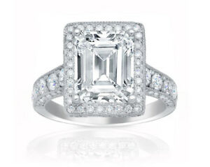 4.50 carat total GIA Certified Diamond Halo Design Emerald Cut Engagement Lad...