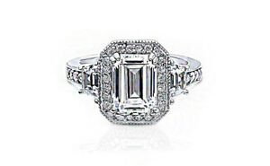 GIA Certified Emerald cut Halo Design Diamond Engagement Ring 1.90 Carat 18k ...