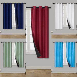 1 Set Short Silk Window Blackout Insulated Thermal Lining Curtain ELIO 36quot; $10.20