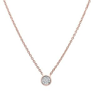 .07ct G SI 14k Rose Gold Round Diamond Solitaire Pendant Necklace 18