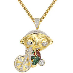 Cartoon On Tricycle Pendant Gold Finish Iced Out Red & Green Simulated Diamonds