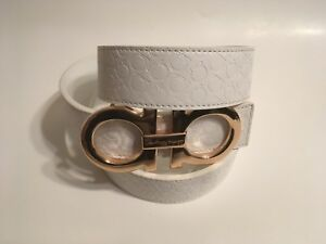 Salvatore Ferragamo White Fashion Belt Gold Buckle Horseshoe Designer Unisex