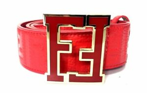 Fendi Belt FF Zucca Red Strap Red Buckle Fashion Designer Men's 36