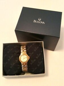 Bulova 98M36 Ladies Watch Two Tone Stainless Steel White Dial Link Bracelet VTG