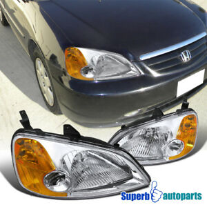 For 2001 2003 Honda Civic EX LX Headlights Head Lamps Pair Replacement