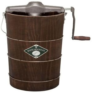 Ice Cream Maker 6 Qt. Manual Bucket Wood Old Fashioned Hand-Cranked System