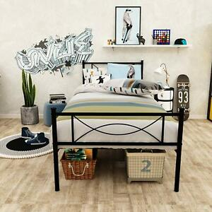 Twin Size Metal Bed Frame Mattress Foundation with Headboard and Footboard Black