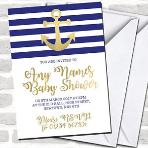 Gold Blue & White Nautical Anchor Baby Shower Invitations