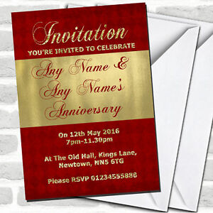 Red And Glitter Look Gold Wedding Anniversary Party Invitations