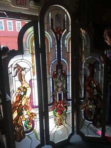 Exceptional Leaded Stained Glass Window Birds Of Paradise Folding Screen